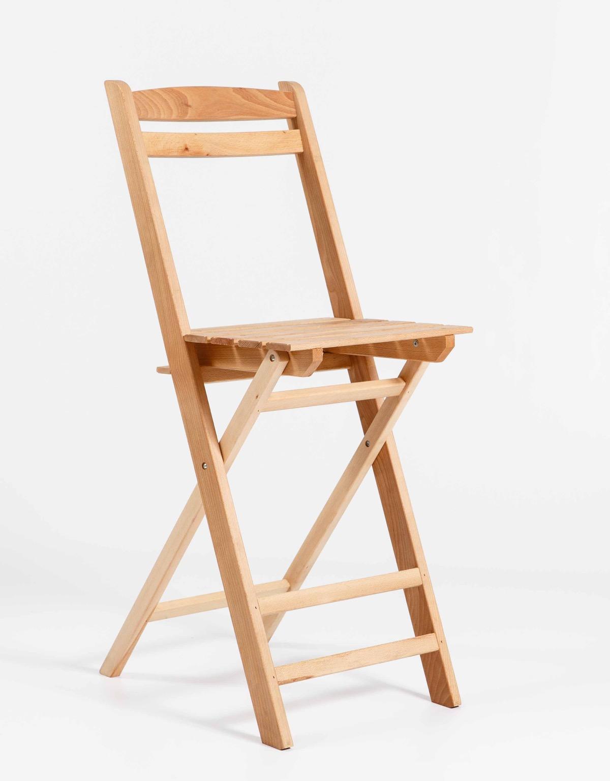 Silla plegable de madera alta garc a hermanos for Sillas altas de madera
