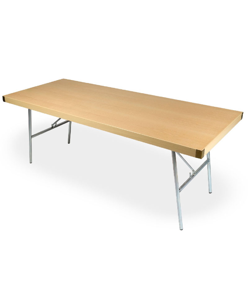 Catering Wooden Table With Metal Legs